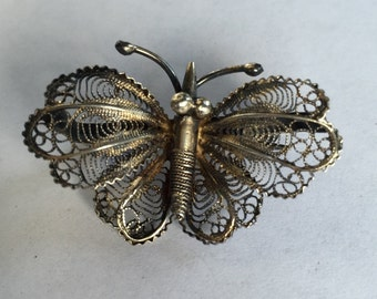 Antique Cannetille 800 Silver Butterfly Pin  brooch Filigree