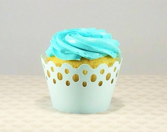 12 Light Blue Cupcake Wrappers, Scalloped Cupcake Wrappers, Eyelet Cupcake Wrappers, Cupcake Decor, Wedding Cupcake Wrapper, Blue Wedding