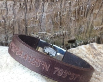 FREE SHIPPING-Men Bracelet,Men Leather Bracelet,Men Personalized Bracelet,Custom Leather Bracelet,,Bracelets For Men, Stainless Steel clasp