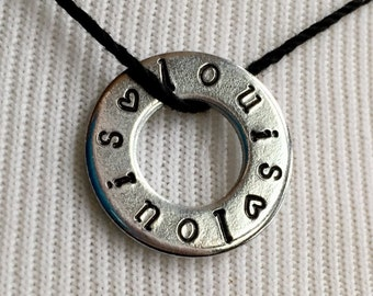 Louis Necklace Hand Stamped Washer Jewelry Pendant