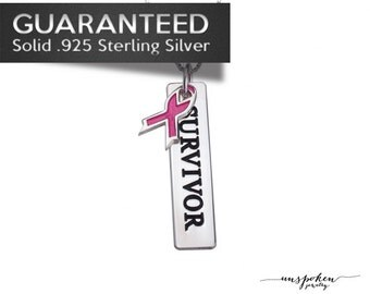 Sterling Silver 0.925 • Custom Name Personalized Bar Necklace • Box or Rolo Chain •  Breast Cancer Awareness • Free Shipping • ID#ON1089