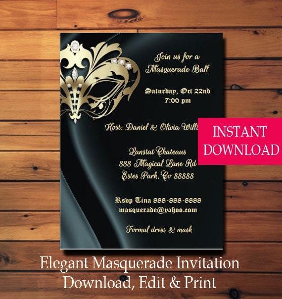 elegant masquerade party invitation instant download edit with