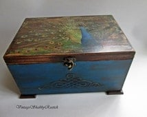 Peacock Box. Vintage Peacock Jewelry Box. Sentimental Peacock Box. Peacock Chest. Personalized Peacock Box. Antique Chest. Decoupaged Box.