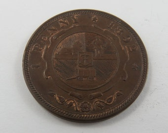 South Africa 1892 One Penny Coin.Low Mintage 83000 coins.