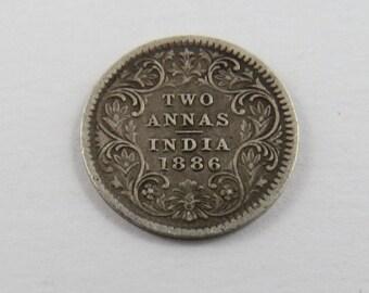 India-British 1886 Silver Two Annas Coin.
