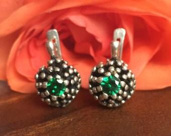Emerald Earrings, Antique Emerald Earrings, Vintage Emerald Earrings, Green Stone Earrings, Vintage Studs, Emerald Studs, Silver Studs