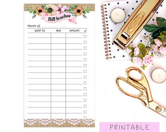 Printable Bill Tracker, Filofax Personal Planner Insert, Kikki K Medium Bill Tracker, Personal Filofax Money Tracker, Monthly Bill Organizer