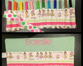 Personalised Crayon Roll * Make up brushes * felt tip holder * pencilcase * gift for a girl or boy * Perfect for handbag * Toddler