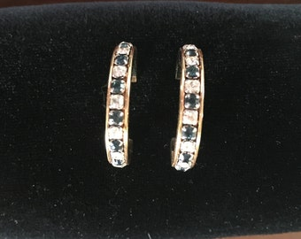 Beautiful Diamond and Sapphire Colored Hoop Earrings