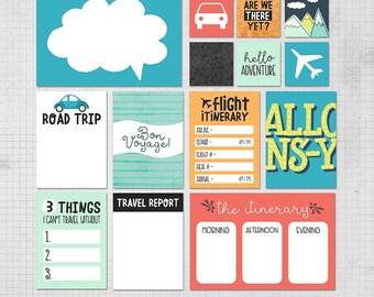 Travel Report Digital Printable Pocket Scrapbooking Journal Cards for Project Life