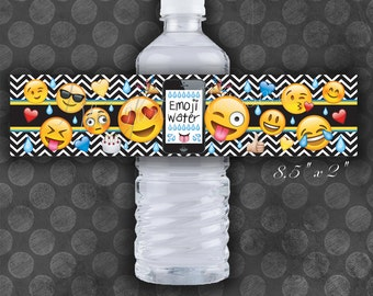 EMOJI Birthday Party Water Bottle Labels / Instant Download  / Digital File