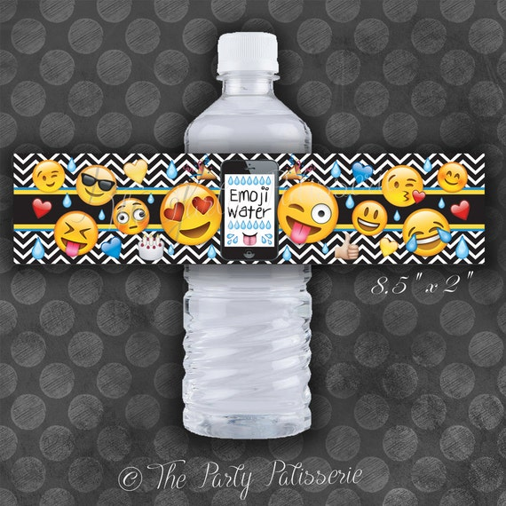 Cool Emoji Party Bottle Label