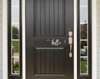 Hello Decal, Front Door Decal, Welcome Sign, Hello Door Sign, Door Sign