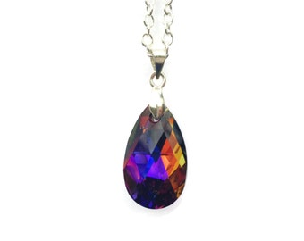 Teardrop Swarovski® Crystal Necklace,  Crystal Pendant,  Pear Shaped Pendant, Volcanic Crystal Jewelry, Silver Plated Pendant,