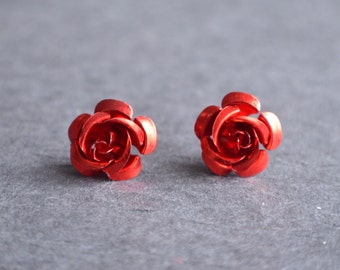 Roses - Red Metal Stud Earrings