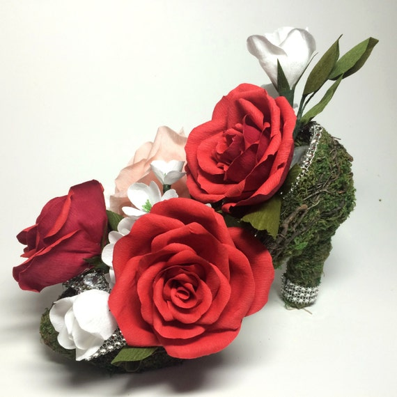 Paper Flower High Heel Centerpiece, Rhinestone Crystals Adorn this Moss Covered Wire Shoe -Perfect for Weddings, Posh Events Decor