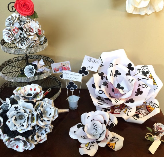 Items similar to giant playing card flower set vegas for Decoration poker