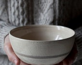 Contemporary Japanese Raku Bowl / Black & White glaze / Unique piece / Wabi sabi