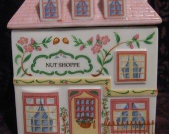 Quaint Vintage 1993 LENOX Village NUT SHOPPE Porcelain House Kitchen Canister Storage Container, Pinks, Ornately Decorated Windows Balcony