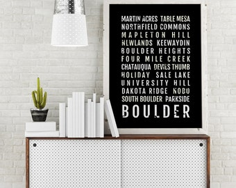 Boulder Print - Neighborhoods - Subway Poster, Boyfriend Gift, Husband Gift, Wall Art, Train Scroll, Bus Scroll, Word Art, Typography