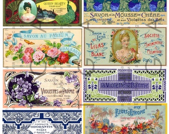 12 French Art Nouveau LABELS PERFUME & SOAP. Rare Vintage Vanity Labels. French Labels Collage Sheet.