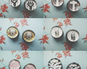 "Picture plugs 12mm (1/2"")- 22mm (7/8"") - custom made"