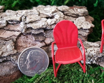Miniature Teeny Retro Metal Lawn Chair - Red