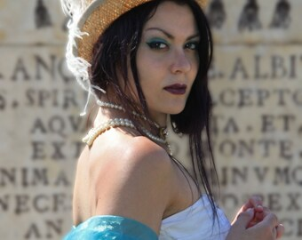 Steampunk/Burlesque Straw Top Hat