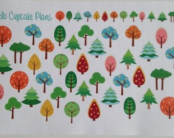 Colorful Trees Planner Stickers