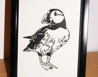 Puffin- Handmade Papercut Picture