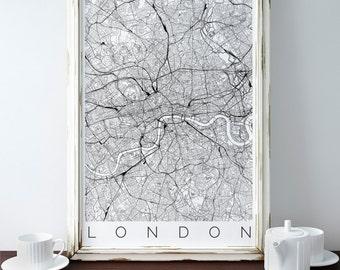 Map of London - London Decor - Map ART - London Poster - IKEA size print - London Print - Scandinavian Art - London Travel Poster