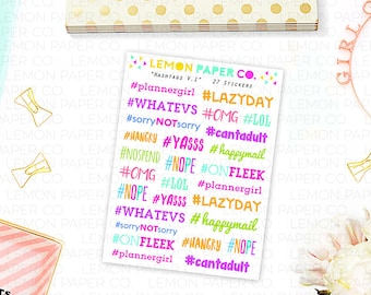 Hashtags V.1 // Planner Stickers