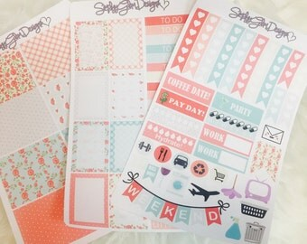 Shabby Chic Floral Weekly Sticker Kit | Verticle Layout