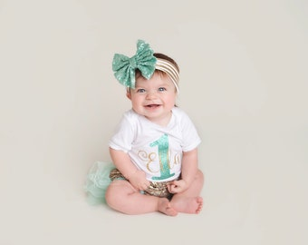 first birthday outfit, mint girl birthday outfit, 2 birthday, mint and gold birthday outfit, first birthday girl,
