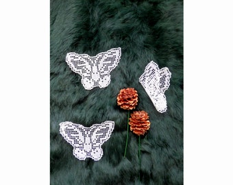 Antique Bobbin lace butterflies. 1880s