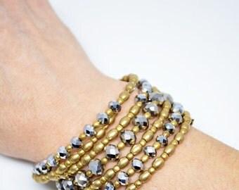 Brass Wrap Bracelet Crystal Memory Wrap Bracelet Grey Crystal Coil Bracelet Wire Wrap Jewelry Boho Bracelet Gift For Her Bracciale Ottone