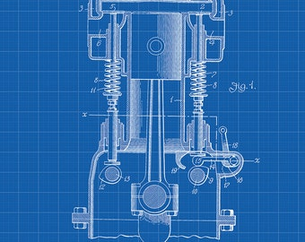 Chevrolet Internal Combustion Engine Patent Art Print - Chevy Internal Combustion Engine Patent Art Print - Chevrolet Engine Patent Print