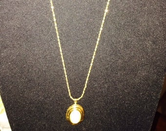 Oval Pearl Pendant and Chain