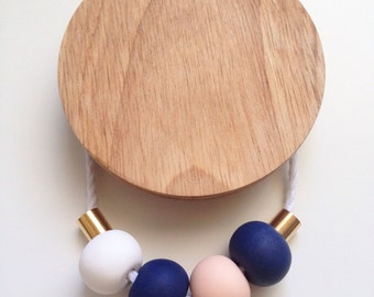Navy and Peach Polymer Clay Necklace