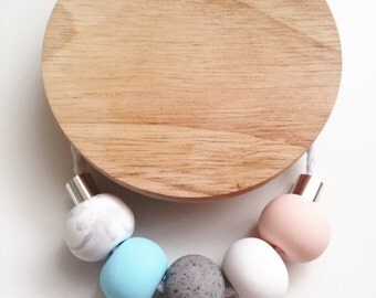 Marble and Granite Pastel Polymer Clay Necklace