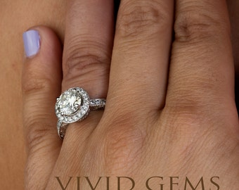Deco Engagement Ring, Light Champagne Diamond Engagement Ring in 18k White Gold