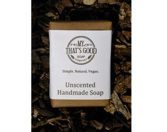 Plain Unscented Soap - Vegan Homemade Old-Fashioned Bar Soap // Fragrance and Dye Free // Made with Lye, this Pure Soap has a Great Lather.