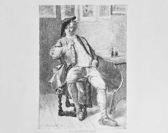 Meissonier Engraving, The Smoker - 1877