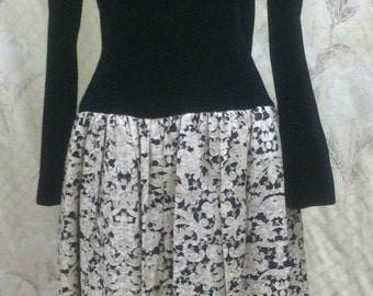 Vintage 1980s Black and White Dress/Maggie London