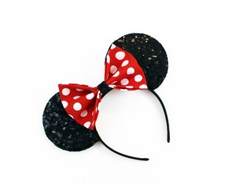 Classic Minnie Black Holographic Sequin Mouse Ears