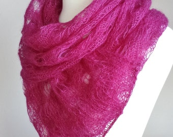 Hand Knit Mohair Shawl. Pink Mohair Scarf. Valentine's Day Scarf. Mohair Lace Scarf.