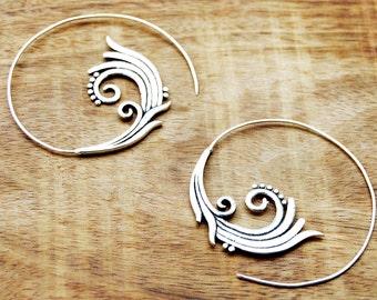 Tribal Silver Earrings, Lotus Flower Earrings, Silver Hoop Earrings, Large Earrings, Ethnic Earrings, Silver Earrings, Bohemian Hoops