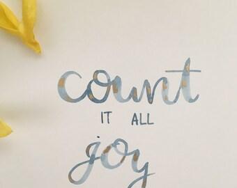 "Watercolor: ""Count it all joy"" Print"