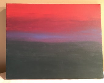 Pink & evergreen, abstract acrylic painting, 14x11