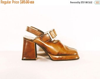20% OFF Vintage Leather Chunky Heel Shoes